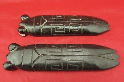 A pair of Chinese old black jade hand-carved art Ancient cicada Paperweight use