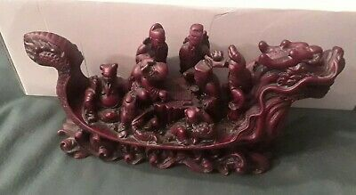 """Chinese Red Resin Dragon Boat 8 Immortals Board Game 5"""" X 10"""" Zen Feng Shui"""