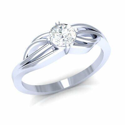 0.33ct Round Diamond 14K Gold Engagement Ring Ladies Twisted Bridal Solitaire