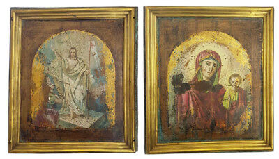 Antique 19th C Russian Double-Sided, Hand Painted Icon on Metal