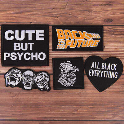 1X Black  Embroidered Sew On Iron On Patch Badge Fabric Craft Transfer KW