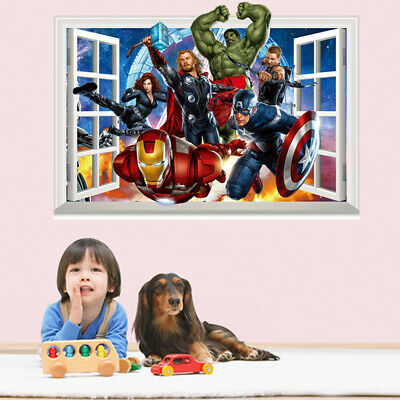 The Avengers Giant Wall Decal Sticker Captain America Hulk Iron Man Party Decor