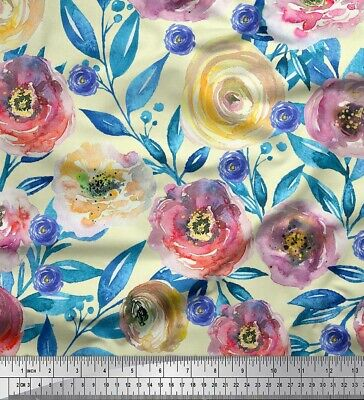 Soimoi Fabric Leaves,Peony & ranunculus Flower Print Fabric by the Meter-FW-115H