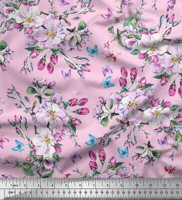 Soimoi Fabric Butterfly,Leaves & Buttercup Flower Fabric Printed Meter-FW-141K