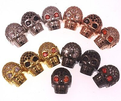 Cubic Zirconia Pave Horizontal Drilled Skull Bracelet Connector Charm Beads Pick