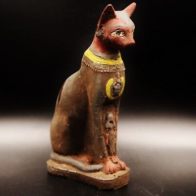 Rare Antique Egyptian Stone of Ancient Cat BASTET (Bes) Figure..Cat Goddess