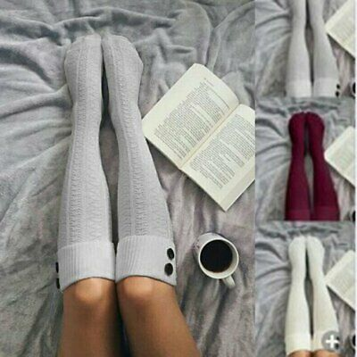 2Pcs Womens Winter Cable Knit Over Knee Long Boot Thigh-High Warm Socks Leggings
