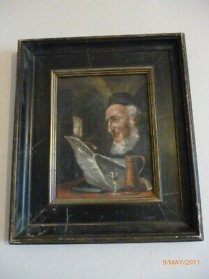Oil painting portrait of a bearded man reading Oswald Hupert signed