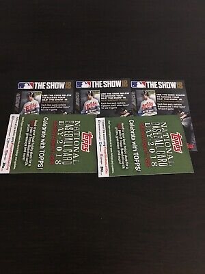 2018 Topps Series 2 Mlb The Show 18 Unused Codes Two Cards