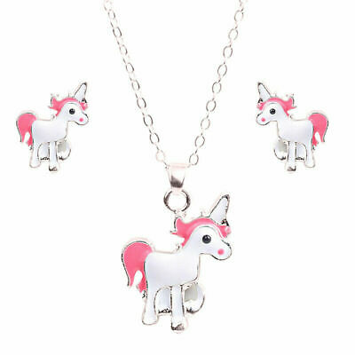 Children Girls Unicorn Alloy Necklace and Stud Earring Accessories Set Special