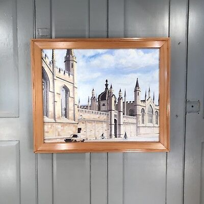 Vintage oil painting of Gothic buildings by Tom Crockwell
