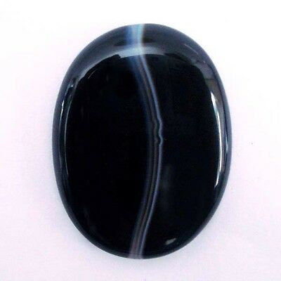 Wonderful  BLACK BANDED AGATE 32x24 mm Oval Cabochon Gemstone 35 Cts S-1576