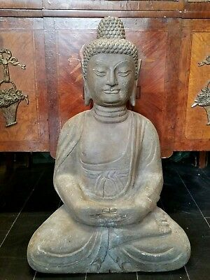 Large Chinese Carved Stone Seated Buddha Statue 24 1/4'' Height