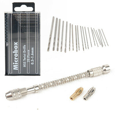 20 Set Mini Micro Hand Twist Drill 0.3-2.0mm HSS Bit Spiral Vise Keyless Chuck