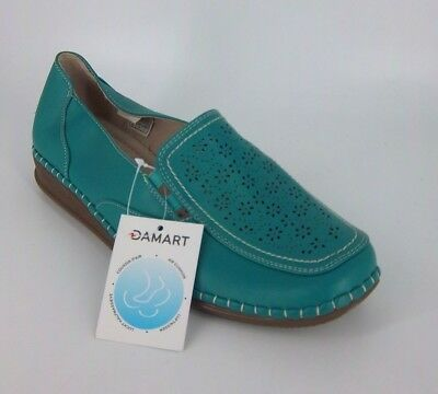 Damart Wide Fit Cut Out Detail Loafers Gren Size UK 7E EU 41 NH088 OO 06
