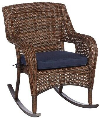 Outdoor Lounge Chair Rocking UV-Protected Powder Coated Steel Frame Blue Cushion