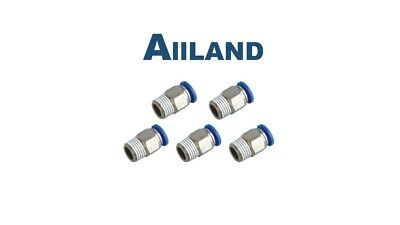 """5pc Male 1/4"""" - 6mm Straight Push in Fitting Pneumatic Push to Connect Air BSPT"""