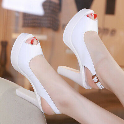 Ladies Platform Peep Toe Slingbacks Sandals Womens High Block Heel Wedding Shoes