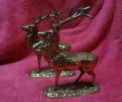 2 x Vintage Heavy Brass STAG / DEER Figurines (18cm tall)