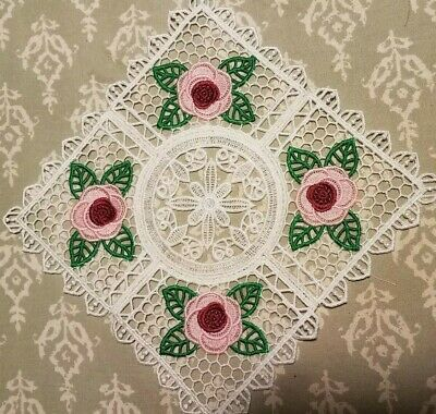 Trivet Doily (Old Country Roses) Hand-Crafted Lace Burgundy & Pink