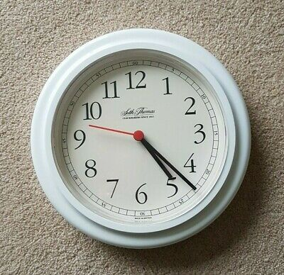 White SETH THOMAS Analogue Round Wall Clock 23cms wide