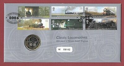 2004 First Day Coin Cover - Classic British Steam Locomotives - Penydarren Shs.