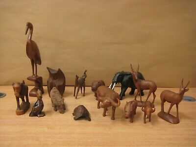 Job lot of wooden ornamental animals owl elephant birds monkey tortoise