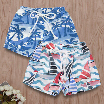 1Pc Summer Children Boy Coco Tree Sailboat Print Short Swimming Trunks Stunning