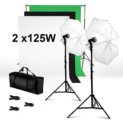 Photo Studio Dual Lighting Kit 125W 5400K Lampe + 3 Hintergrundstoffe