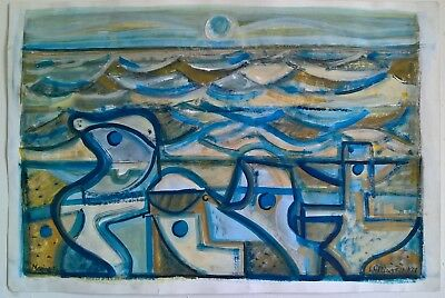 Original modernist abstracted seascape watercolour & gouache William Black