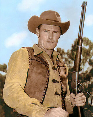 """Chuck Connors 2 The Rifleman 1960 Hollywood Actor 8X10"""" Hand Color Tinted Photo"""
