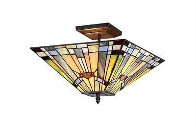 """Stained Glass Chloe Lighting Mission 2 Light Semi-Flush Ceiling Fixture 14"""" New"""