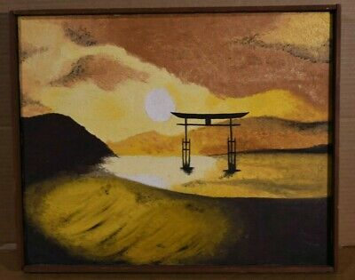 "Michele LaColla Asian Scene Oil On Canvas Signed Framed 16"" x 20"""