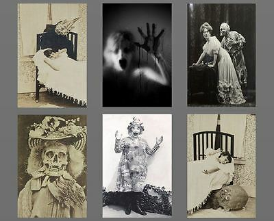 Lot of 6 Scary Vintage Creepy Clown Monster PHOTOS Skull Demon Freaky Skeleton