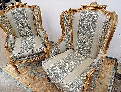 Vintage Antique LOUIS French Gold Gilt Regal Throne Wing Winged Back Arm Chair