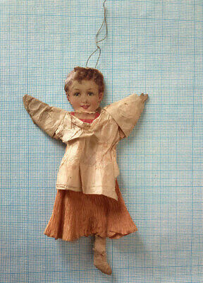 ANTIQUE GERMAN DRESDEN VICTORIAN GIRL ANGEL CREPE CHRISTMAS ORNAMENT 1900s