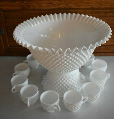 Fenton Hobnail Milk Glass Punch Bowl, 12 Mugs / Cups and Base