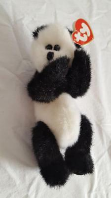 "8"" Ty Beanie Baby Panda Bear Checkers King Me, Plush, Stuffed, With Tags"