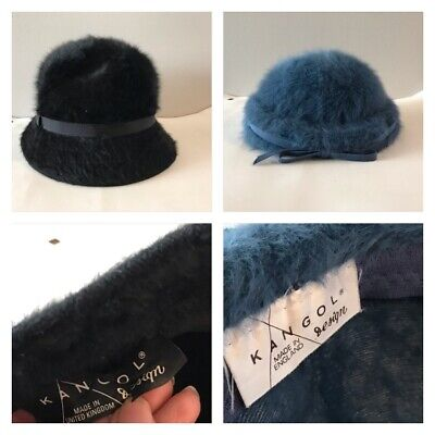 ab17c0160f2a2 Lot Of 2 Kangol Angolra Hat Black bucket And blue beret fuzzy Pre-owned  vintage