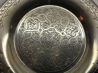 Vintage Sterling Silver From Egypt Small Plate Arabesque Design Floral Gorgeous