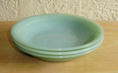 """Jadeite Jade-ite Jane Ray Flat Soup Bowls 7 1/2"""" (Three) Fire King Oven"""