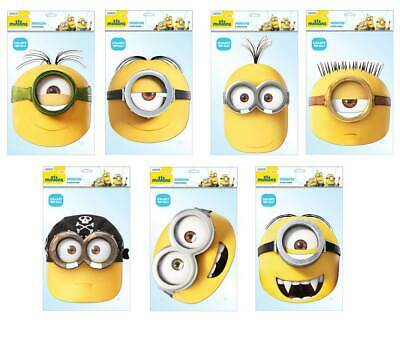 Minions Official 2D Card Party Face Masks Variety 7 Pack
