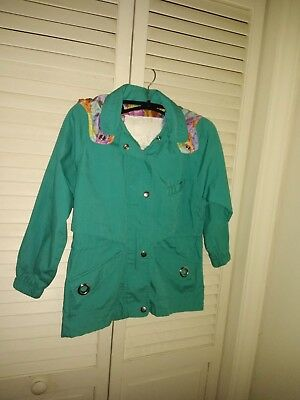 Rothschild Girls Hooded Jacket Size 6X Green with a Colorful Lining Zipper Front