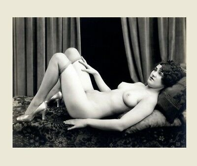 Sexy 1920s Nude Flapper Girl Stockings PHOTO Vintage Albert Arthur Allen Heels