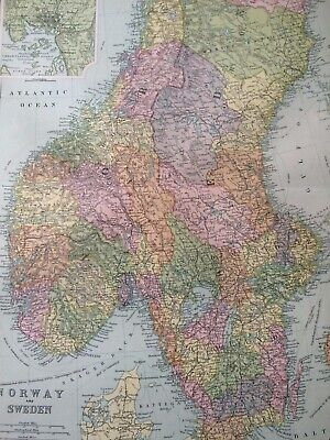 C1898 Norway and Sweden Large Original Antique Map Christiana Stockholm Insets