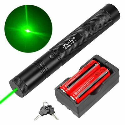 303 Green Laser Pointer Lazer Pen 50Miles 532nm Visible Beam Light+18650+Charger