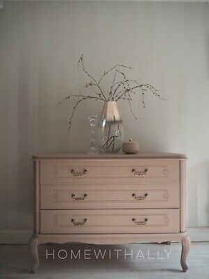 French Louis Xv Chest Of Drawers Painted In Dusky Pink