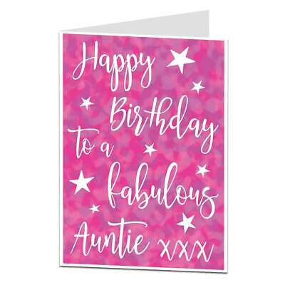 Free p+p Various Tall Birthday Cards For Aunty Auntie Birthday Card