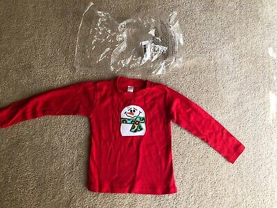 Monag Boys Long Sleeve Snowman Shirt, size 2/2T,  red,  cotton New In Package
