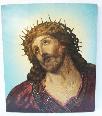 Antique 19th C Russian Hand Painted Icon of Jesus Christ Crown of Thorns (49 cm)